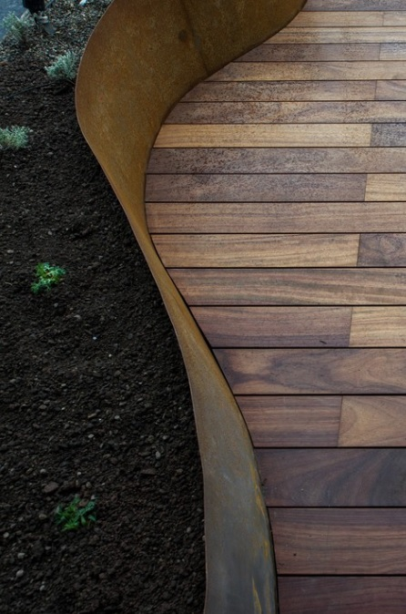 Bordure acier Corten sur mesure jardin terrasse aspect rouillé oxydé