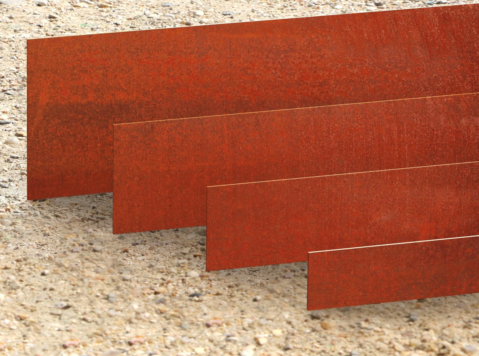 Bordure de jardin et massif en fer rouillé vieilli acier corten métallique