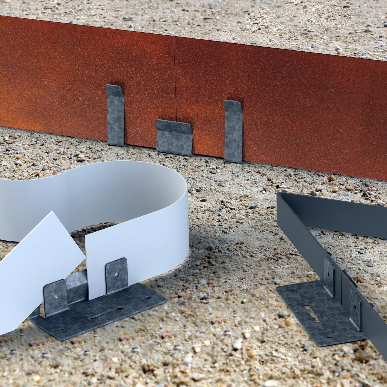 Raccordement bordure volige de jardin PVC acier Corten et galvanisé