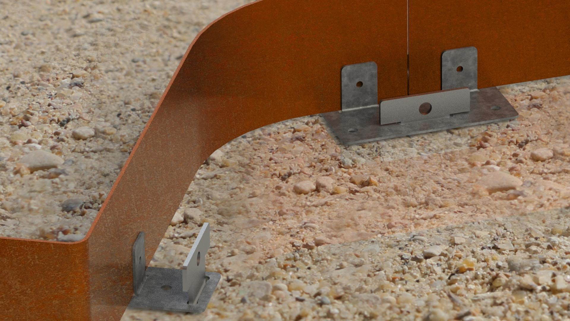 raccordement des bordures voliges de jardin acier Corten rouillé oxydé fer