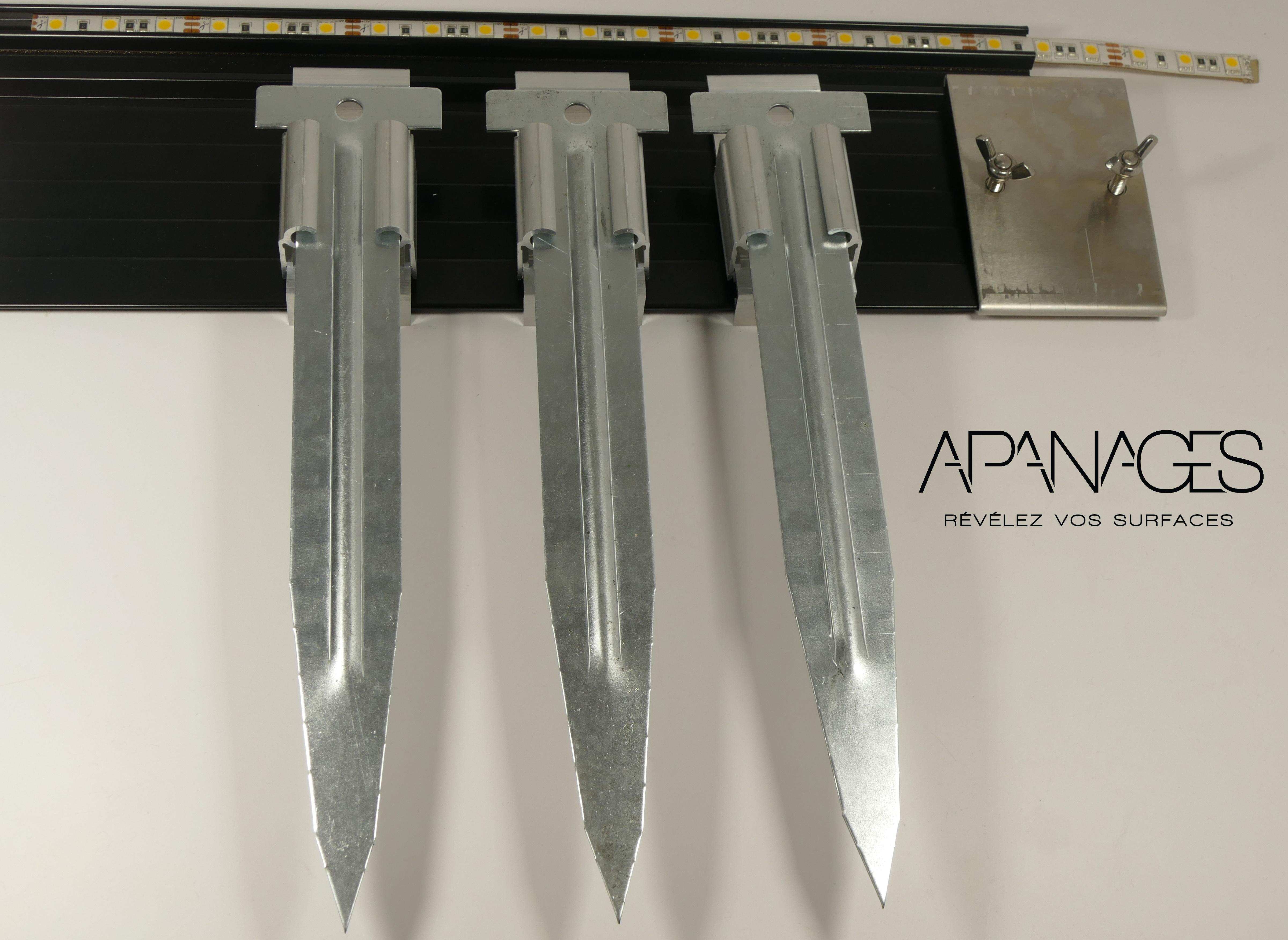 Piquets plats sardines pour voliges et bordures de jardin métallique alu aluminium