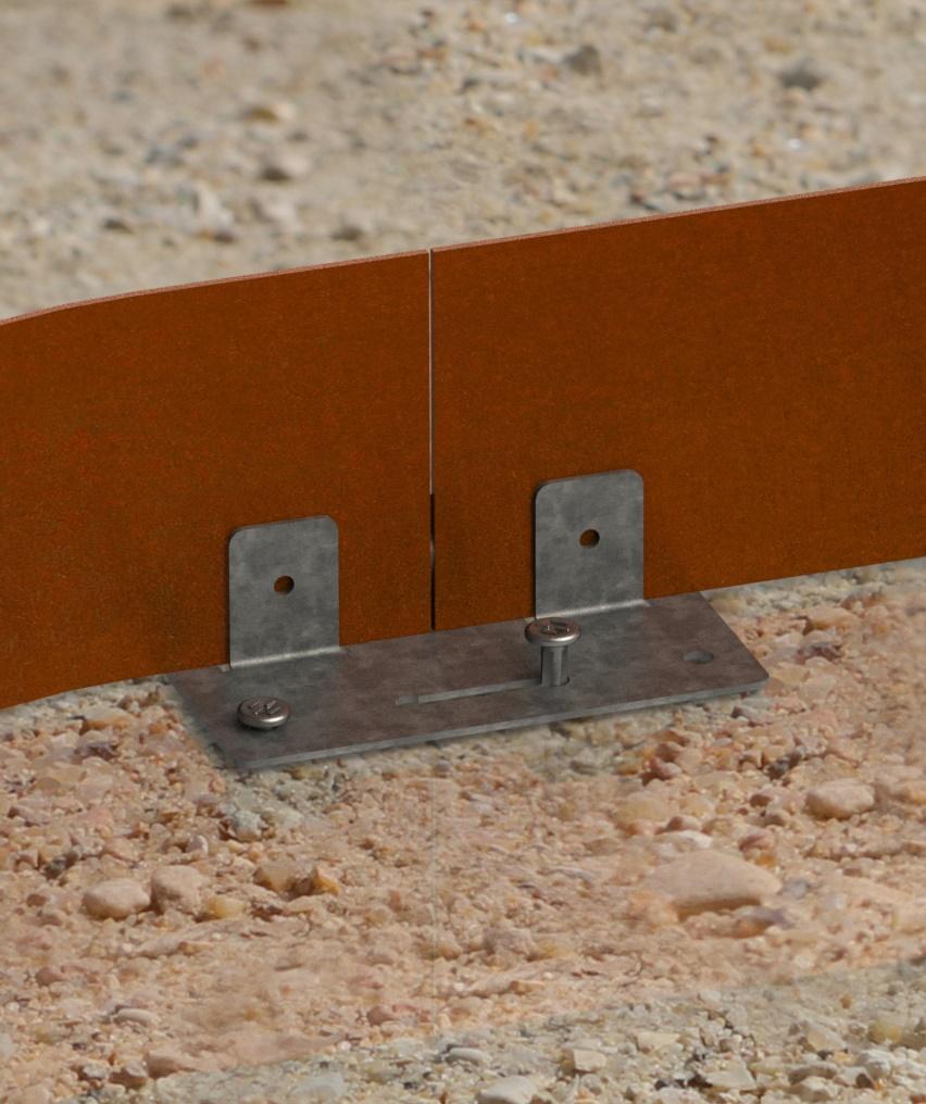 raccordement liaison des bordure corten aspect fer rouillé