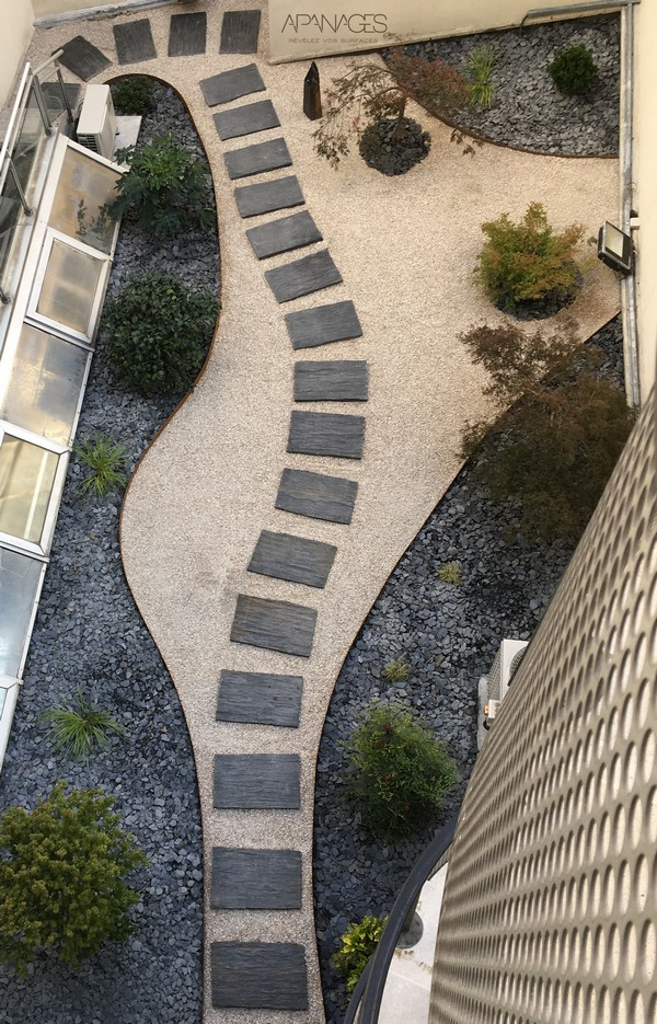 bordure corten rocaille patio région parisienne ardoise galet jardin japonisant bonsai