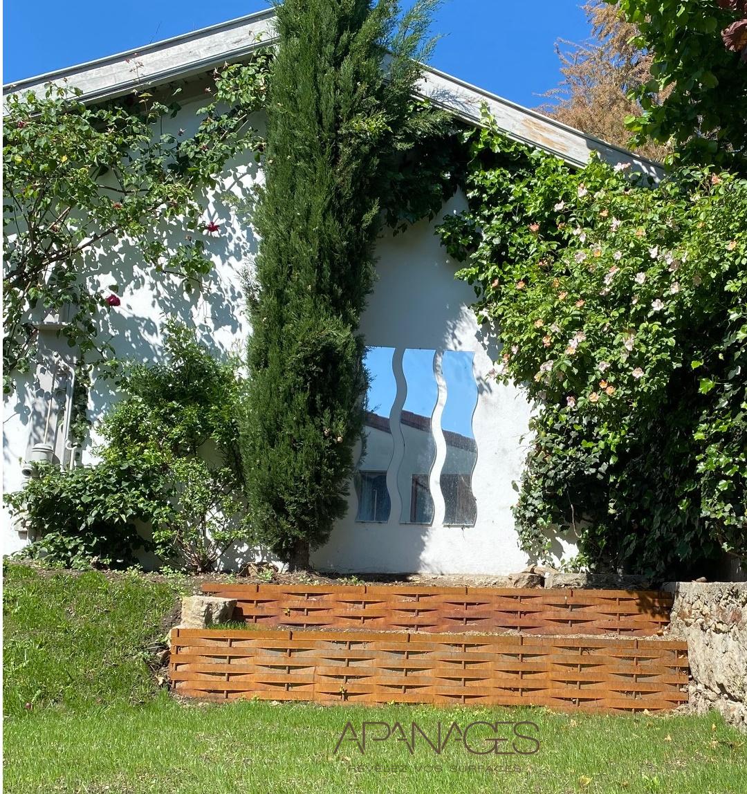 terrasses en plessis corten aspect rouillé retenue de terre tressé gaulette osier pente